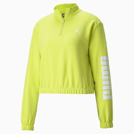 Half-Zip Crew Women's Sweatshirt, Limeade, small-GBR