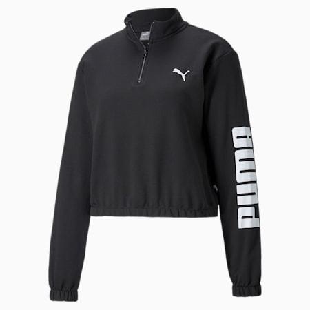 Half-Zip Crew Women's Sweatshirt, Puma Black, small