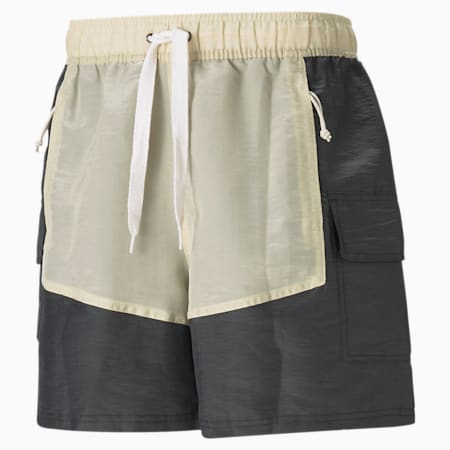 Shorts de básquetbolPUMA x RHUIGI para hombre, Puma Black-Oatmeal, pequeño