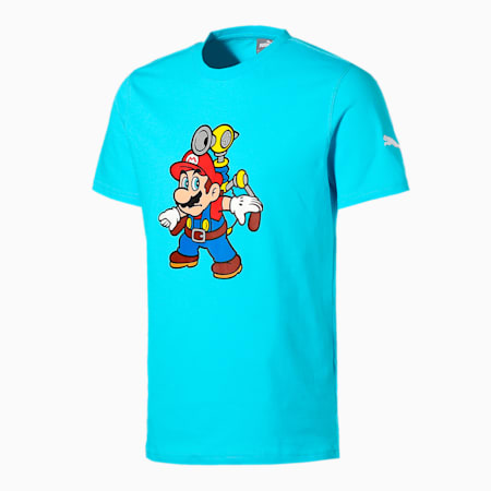 PUMA x SUPER MARIO メンズ バスケットボール 半袖 Tシャツ, Blue Atoll-SMS, small-JPN