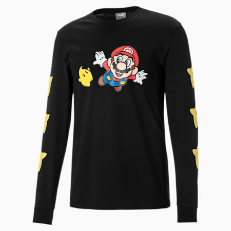 Super Mario™ Long Sleeve Men's Basketball Tee, Cotton Black-SMG, small