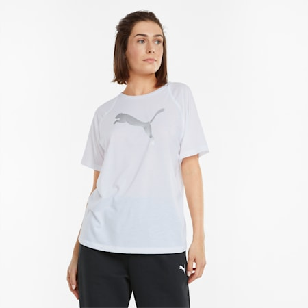 Evostripe Damen T-Shirt, Puma White, small