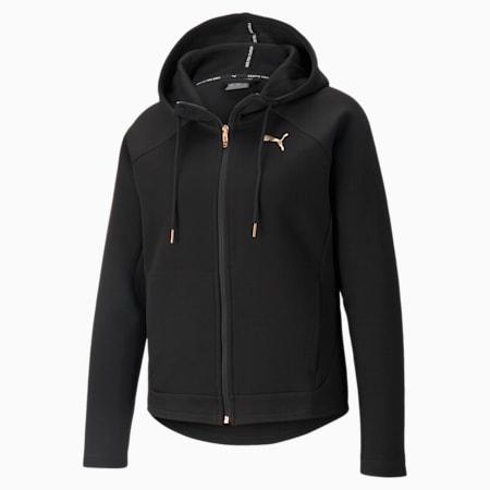 Evostripe Full-Zip Regular Fit Women's Hoodie, Puma Black-copper, small-IND