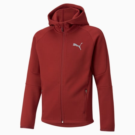 Evostripe Full-Zip Youth Hoodie, Intense Red, small