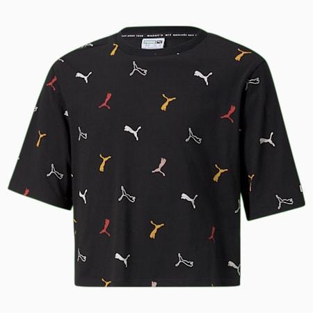 Camiseta estampada clásica para niña, Puma Black-AOP, pequeño