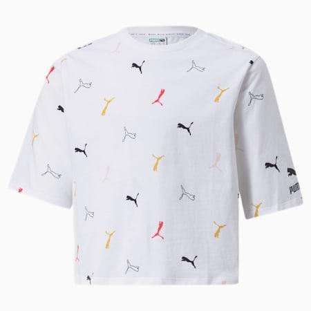 Camiseta estampada clásica para niña, Puma White-AOP, pequeño