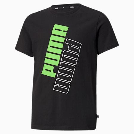 Camiseta con logo POWER para niños, Puma Black-Green Flash, pequeño