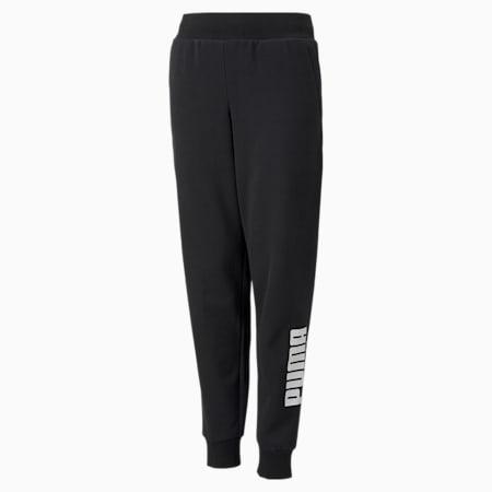 Power Logo Youth Sweatpants, Puma Black, small-GBR
