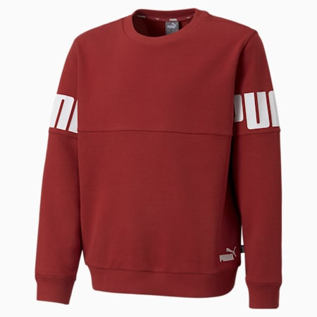 Power Colourblock Crew Neck Youth Sweater, Intense Red, small-GBR