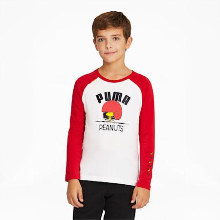 PUMA x PEANUTS Long Sleeve Kids' Tee, Urban Red, small-GBR