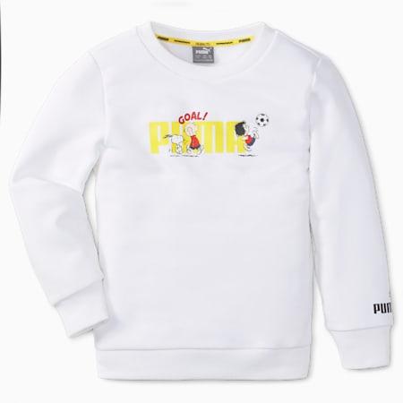 PUMA x PEANUTS Crew Neck Kids' Sweatshirt, Puma White, small
