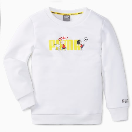 PUMA x PEANUTS Crew Neck Kids' Sweatshirt, Puma White, small-GBR