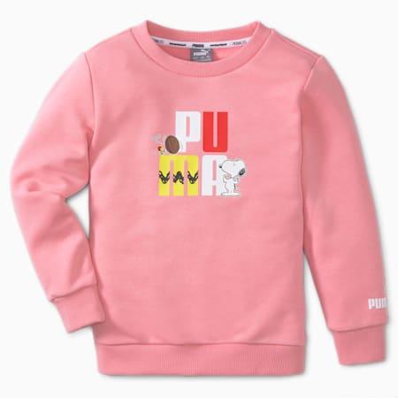 PUMA x PEANUTS Crew Neck Kids' Sweatshirt, Peony, small