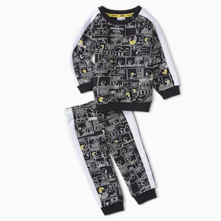 PUMA x PEANUTS Crew Neck Babies' Jogger Set, Puma Black, small