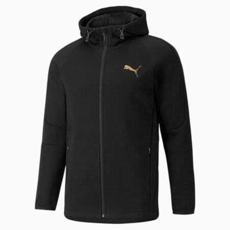Evostripe Full-Zip Men's Hoodie, Puma Black-Gold, small-SEA