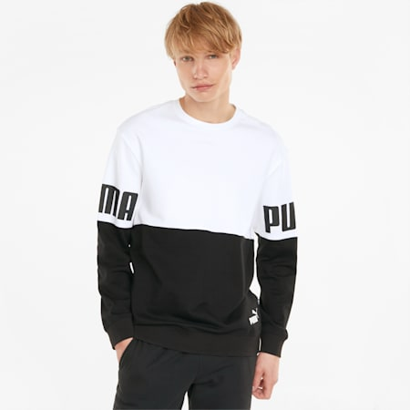 Power Colourblock Crew Neck Men's Sweatshirt, Puma White, small