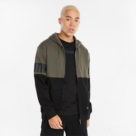 Power hoodie met rits voor heren, Grape Leaf, small