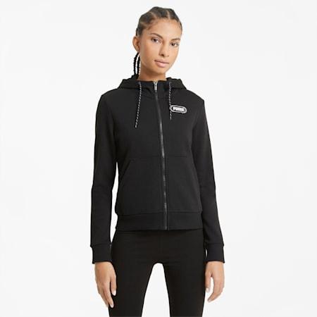 Rebel Women's Full Zip Hoodie, Puma Black-Puma White, small