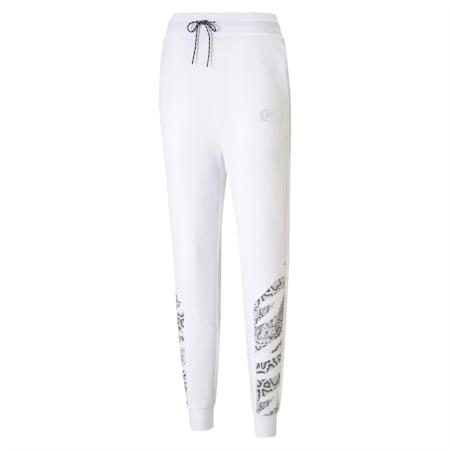 Pantalon en molleton à taille haute Rebel, femme, Blanc Puma-Sauvage, petit