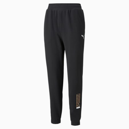 Pantalones Modern Sports para mujer, Puma Black-Peach Parfait, pequeño