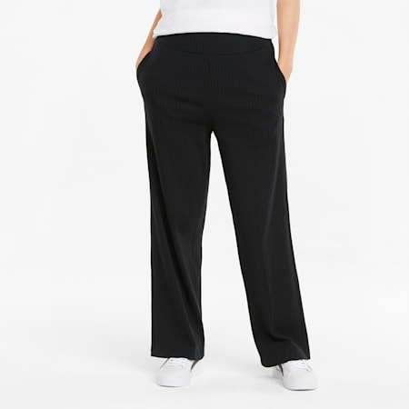 HER Ribbed Wide Women's Pants, Puma Black, small-SEA