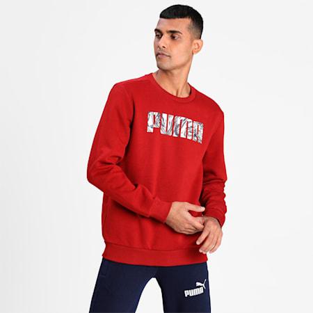 PUMA Graphic Crew Men's Sweat Shirt, Red Dahlia, small-IND
