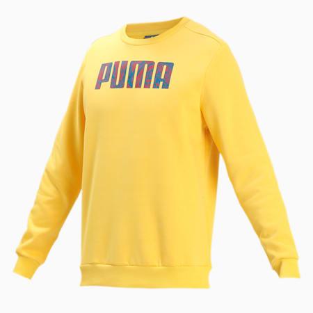 PUMA Graphic Crew Men's Sweat Shirt, Super Lemon, small-IND