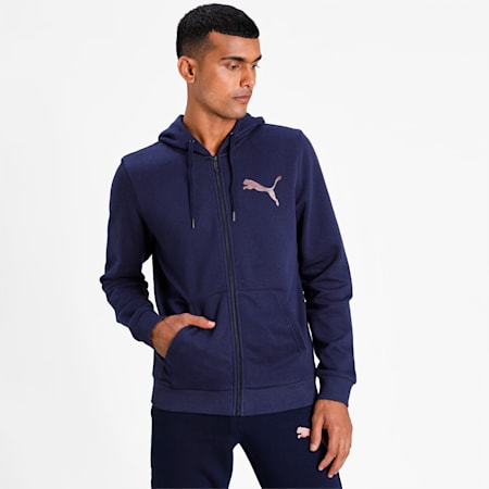 PUMA Men's Hooded Knitted Jacket, Peacoat, small-IND