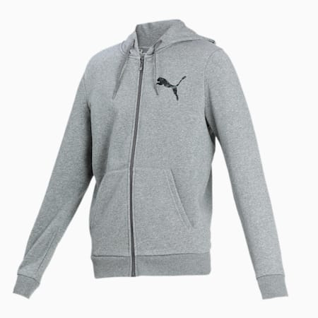 PUMA Men's Hooded Knitted Jacket, Medium Gray Heather, small-IND