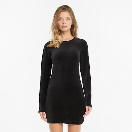 Iconic Velour Fitted Women's Dress, Puma Black, small-GBR