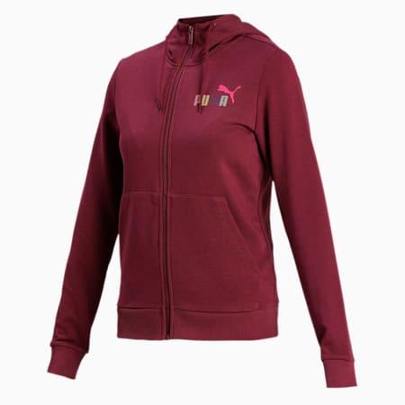 PUMA Women's Hooded Sweat Jacket, Burgundy, small-IND