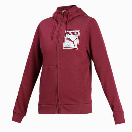 Women's 4 Sweat Hooded Jacket, Burgundy, small-IND