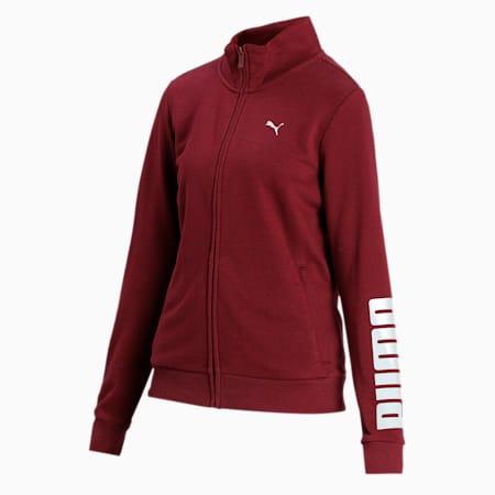 Women's Sweat Jacket 10, Burgundy, small-IND