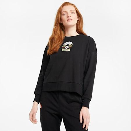 Suéter AS de cuello redondo para mujer, Puma Black, pequeño