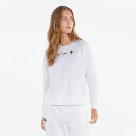 Suéter AS de cuello redondo para mujer, Puma White, pequeño