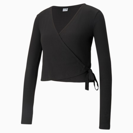 Classics Ribbed Women's Wrap Top, Puma Black, small-GBR