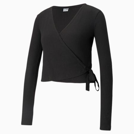 Classics Women's  Ribbed Slim Wrap Top, Puma Black, small-IND