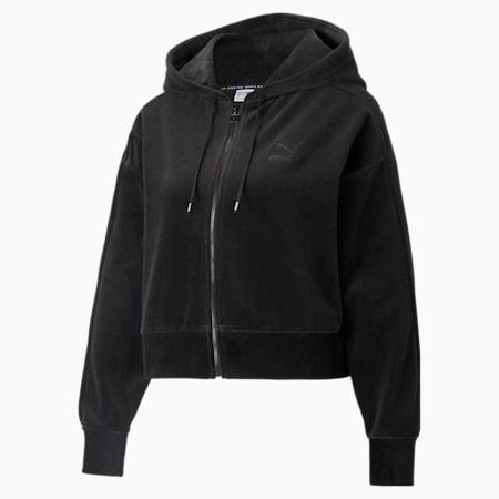 Sudadera con capucha con cierre completo Iconic T7 Velour para mujer, Puma Black, pequeño