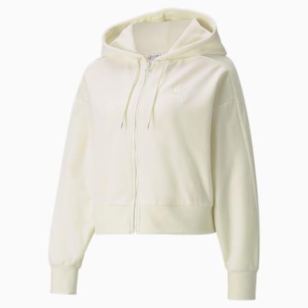 Iconic T7 Velour Full-Zip Women's Hoodie, Ivory Glow, small