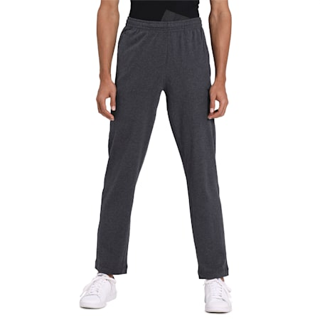 Zippered Jersey Embroidered PUMA Cat Logo Men's Pants, Dark Gray Heather, small-IND