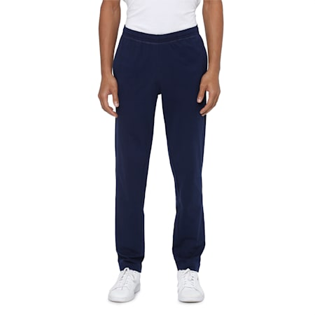 Zippered Jersey Embroidered PUMA Cat Logo Men's Pants, Peacoat, small-IND