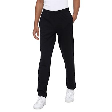 Zippered Jersey Embroidered PUMA Cat Logo Men's Pants, Puma Black-Puma Black, small-IND