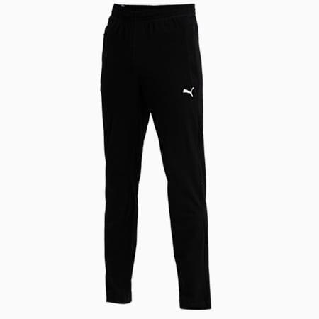 Zippered Jersey Embroidered PUMA Cat Logo Men's Pants, Puma Black, small-IND
