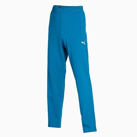Zippered Jersey Embroidered PUMA Cat Logo Men's Pants, Digi-blue, small-IND