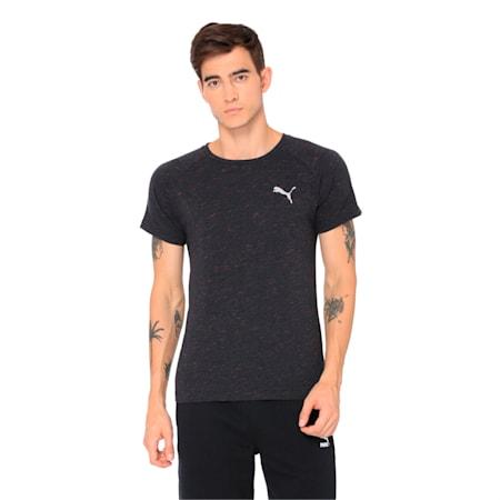 Active Men's Evostripe SpaceKnit T-Shirt, Dark Gray Heather, small-IND