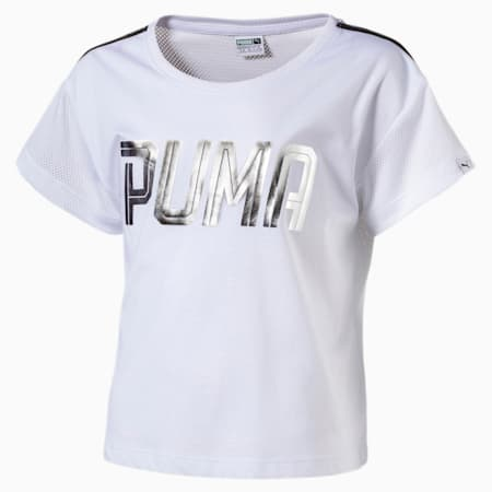 Girls' Sportstyle Layer T-Shirt, Puma White, small-IND