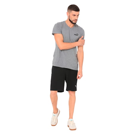Men's Zipped Jersey Embroidered PUMA Cat Logo Shorts, Cotton Black, small-IND