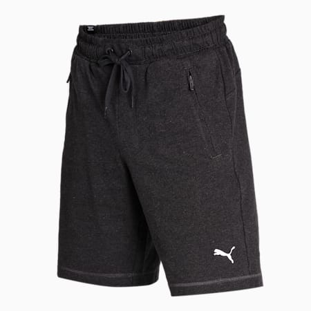 Men's Zipped Jersey Embroidered PUMA Cat Logo Shorts, Dark Gray Heather, small-IND