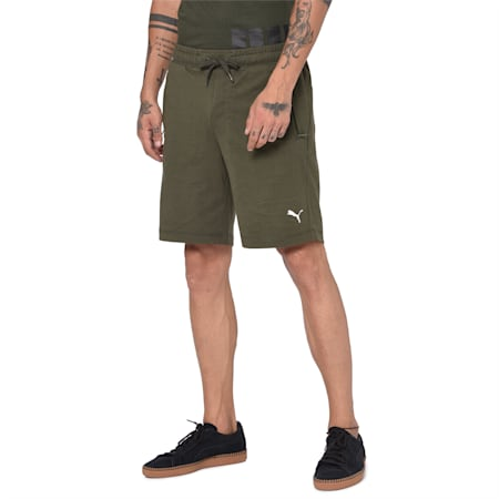Men's Zipped Jersey Embroidered PUMA Cat Logo Shorts, Forest Night, small-IND