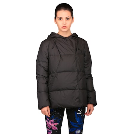 Women's Hooded Down Jacket, Puma Black, small-IND